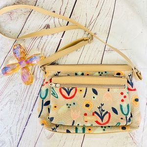 Relic Tan crossbody floral cloth bag